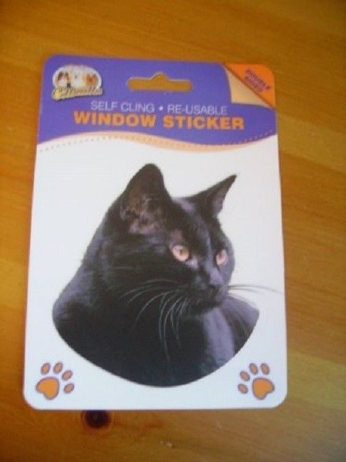 BLACK CAT DOUBLE SIDED WINDOW STICKER