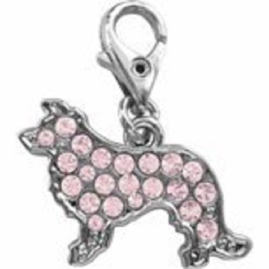BORDER COLLIE PINK CRYSTAL CHARM FOR BAGS PHONES JEWELLERY CLEAR CLIP ON CHARM