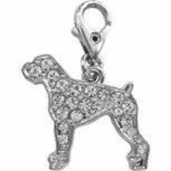BOXER DOG CLEAR CRYSTAL CHARM FOR BAGS PHONES JEWELLERY ETC