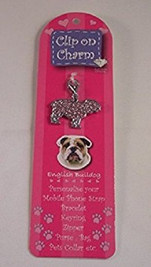BRITISH BULLDOG PINK CRYSTAL CHARM FOR BAGS PHONES JEWELLERY CLEAR CLIP ON CHARM
