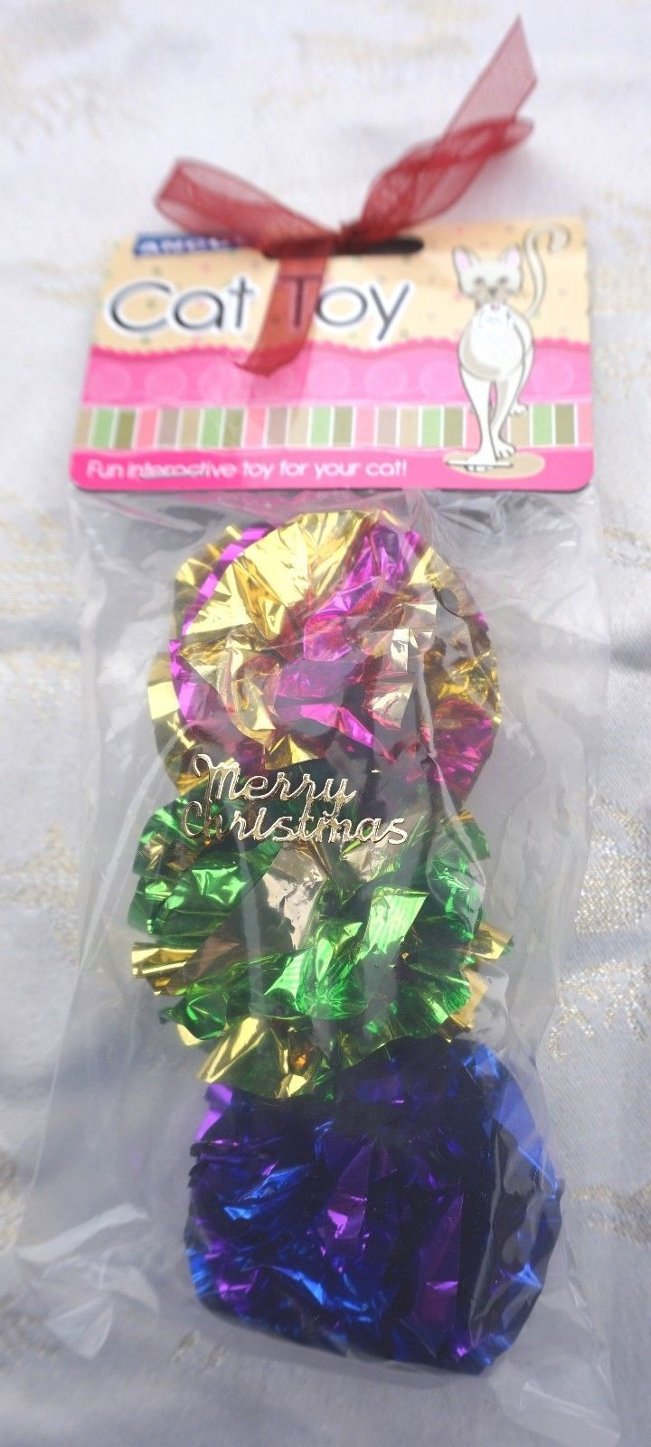 CHRISTMAS CAT CRINKLE FOIL BALLS PACK OF THREE ANCOL SHINY BALLS HAND DECORATED