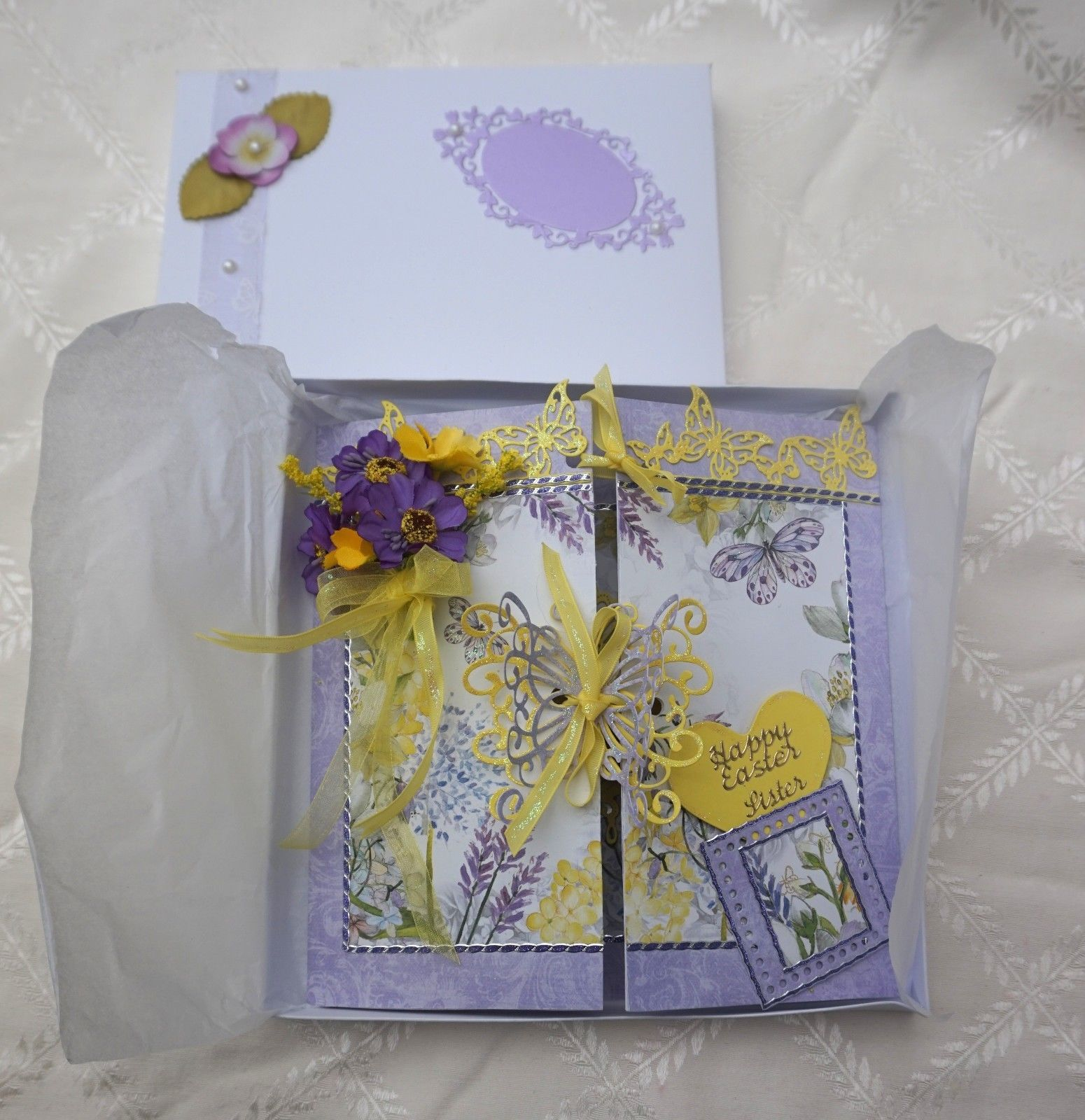 Hand Made Keepsake Easter Card with Lindt Chocolate Bunnies – Boxed Easter Cards
