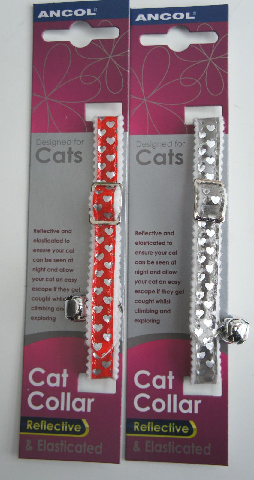 HEART REFLECTIVE ELASTICATED SAFETY CAT COLLAR BY ANCOL IN RED OR SILVER  with or without ID tag
