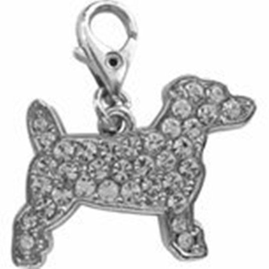 JACK RUSSELL CHARM CRYSTAL CHARM FOR BAGS PHONES JEWELLERY CLEAR CLIP ON CHARM
