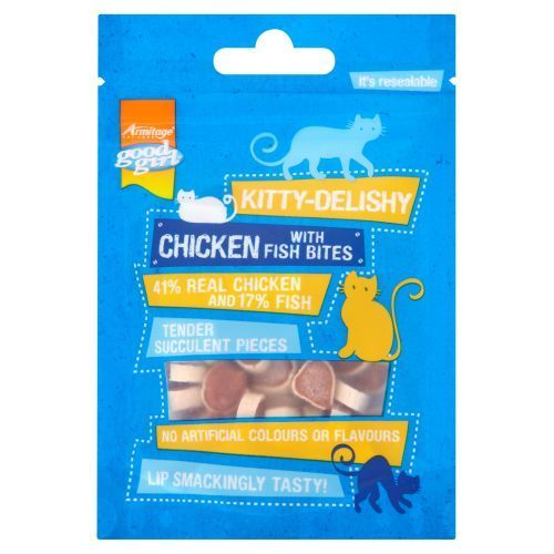 KITTY DELISHY REAL MEAT CAT TREATS GOOD GIRL  FISH WITH CHICKEN BITES