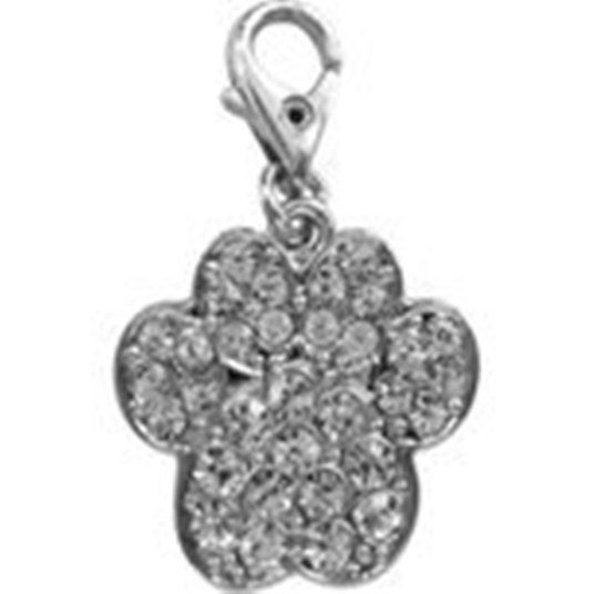 PAW PRINT CHARM CLEAR CRYSTAL FOR BAGS PHONES ETC