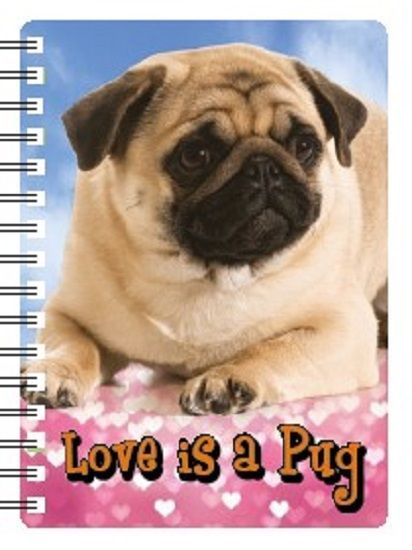 PUG 3D NOTEBOOK, PUG PAD ORGANISER ADDRESS BOOK 3D LENTICULAR PUG