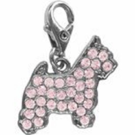 WEST HIGHLAND TERRIER PINK CRYSTAL CHARM FOR BAGS PHONES JEWELLERY ETC