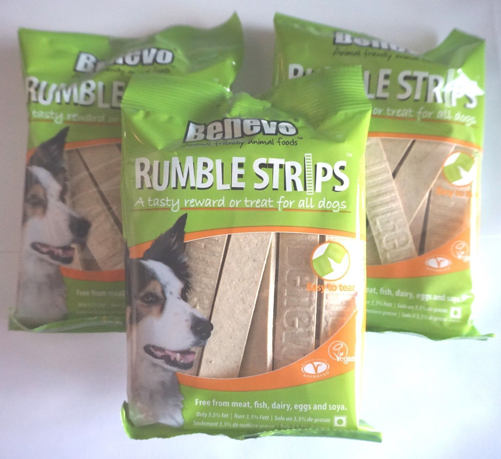 3 X Vegan Vegetarian Low Fat Dog Treats Food Benevo Rumble Strips 180g Bulk Buy