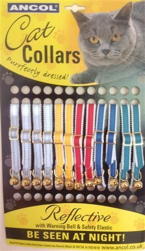 ANCOL REFLECTIVE SAFETY CAT COLLARS X 12 ASSORTED COLOURS NORMAL PRICE £30