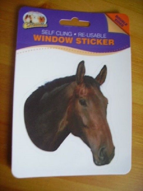 BAY HORSE DOUBLE SIDED WINDOW STICKER CHESTNUT HORSE