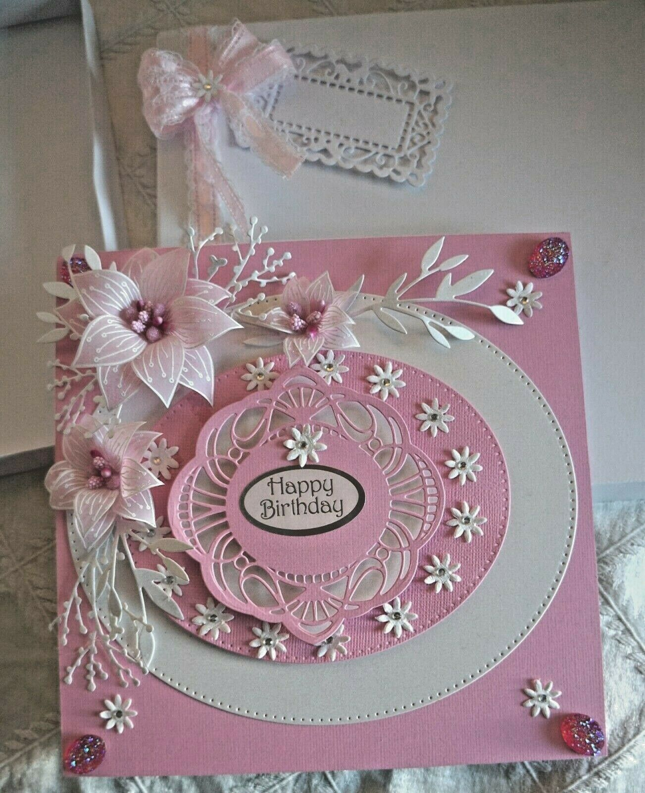 Swell Beautiful Hand Made 8 X 8 Birthday Card In Pink With Personalised Birthday Cards Rectzonderlifede