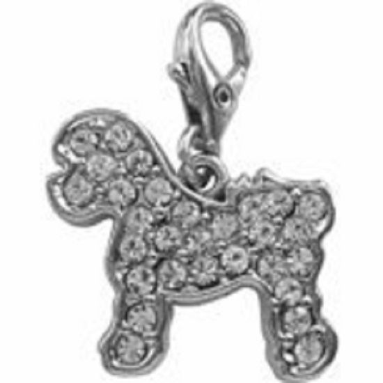 BICHON FRISE CHARM CRYSTAL CHARM FOR BAGS PHONES JEWELLERY CLEAR CLIP ON CHARM