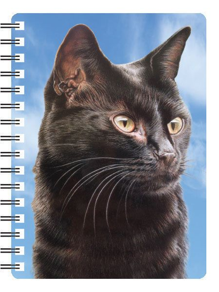 BLACK CAT 3D NOTEBOOK,  PAD ORGANISER ADDRESS BOOK 3D LENTICULAR