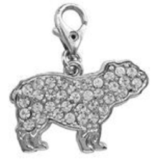 BRITISH BULLDOG CLEAR CRYSTAL CHARM FOR BAGS PHONES JEWELLERY ETC