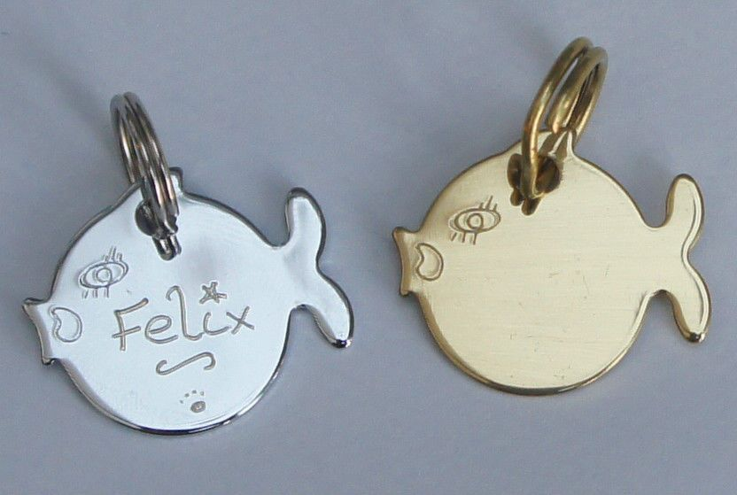 CAT ID TAG HAND ENGRAVED FREE GOLD OR SILVER CAT CUTE FISH TAG & SPLIT RING (1) (1)