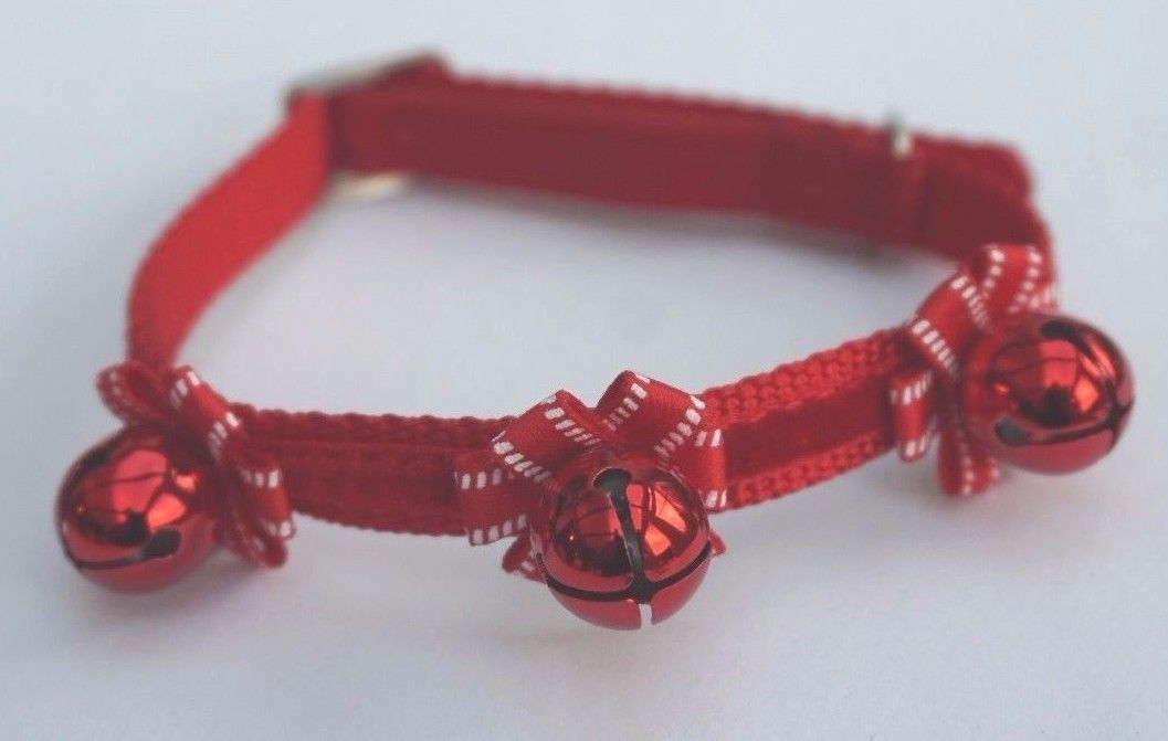 Christmas Cat Collar By Ancol With Bows And Bells In Red