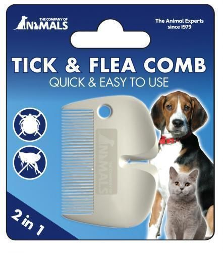 DOG CAT & SMALL ANIMAL FLEA COMB & TICK REMOVER 2 IN 1 COMB ALSO REMOVES LICE