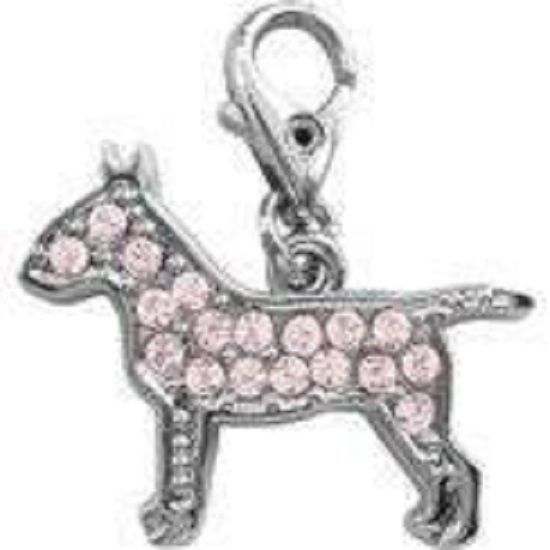 ENGLISH BULL TERRIER PINK CRYSTAL CHARM FOR BAGS PHONES JEWELLERY ETC