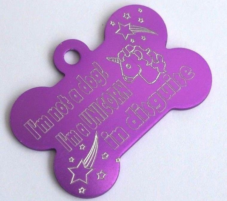 FUNNY PERSONALISED DOG BONE TAG I'M NOT A DOG I'M A UNICORN IN DISGUISE PURPLE