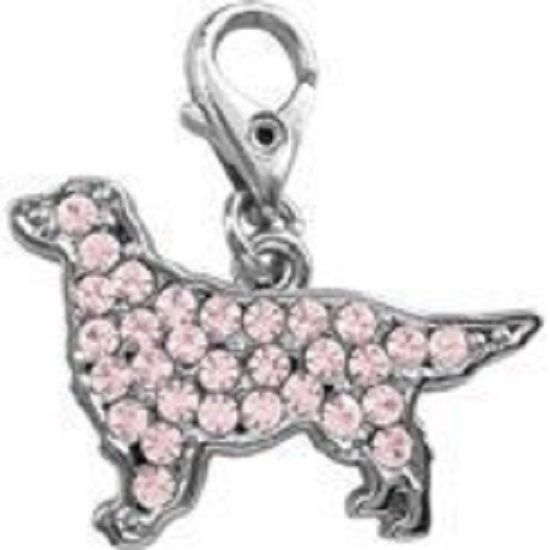 GOLDEN RETRIEVER PINK CRYSTAL CHARM FOR BAGS PHONES JEWELLERY ETC