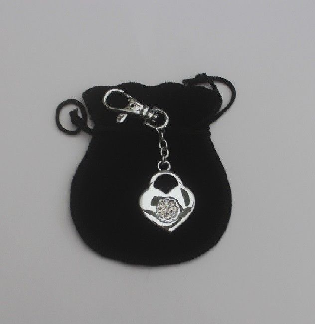 Heart shape locket charm, in velvet pouch with your engraved message,
