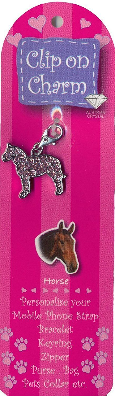 HORSE PINK CRYSTAL CLIP ON CHARM FOR BAGS PHONES JEWELLERY
