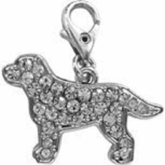 LABRADOR CLEAR CRYSTAL CHARM FOR BAGS PHONES JEWELLERY ETC