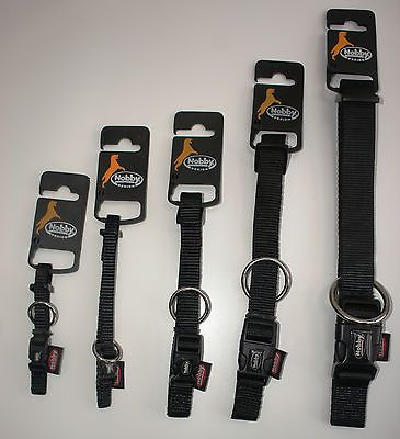 NYLON DOG COLLARS AND LEADS BLACK SMALL - LARGE + FREE ENGRAVED TAG