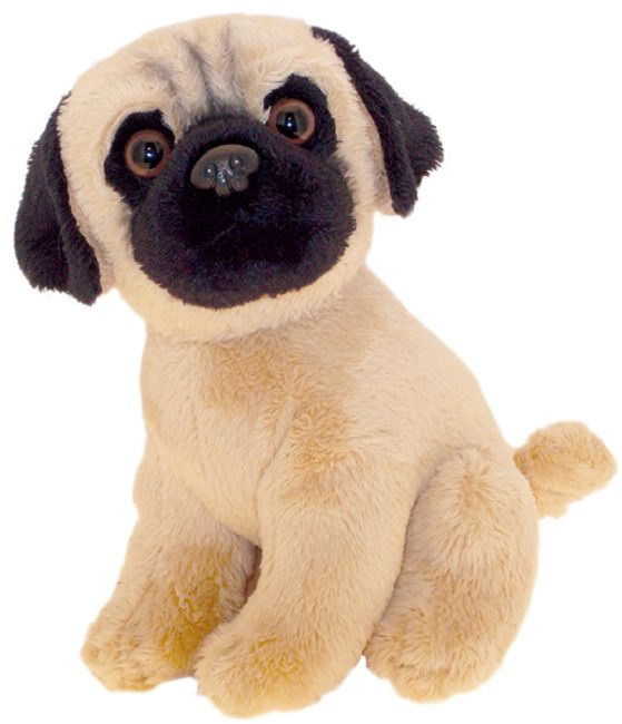 Pug puppy dog sitting Cuddly toy 6.5""
