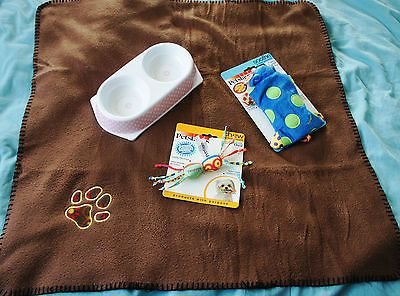 PUPPY STARTER SET COMFORTER TOYS BOWL GROOMING SET AND BLANKET FOR SMALL BREEDS