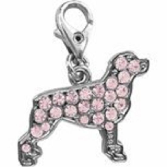 ROTWIELLER PINK CRYSTAL CHARM FOR BAGS PHONES JEWELLERY ETC