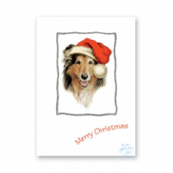 ROUGH COLLIE CHRISTMAS GREETINGS CARD GLITTER