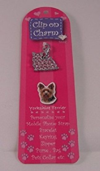 YORKSHIRE TERRIER CRYSTAL CHARM (PINK) FOR BAGS PHONES JEWELLERY ETC
